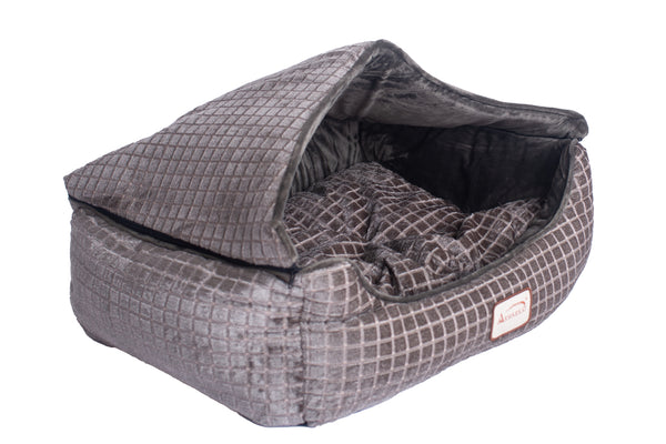 Luxe Velvet Bronze/Silver Square Canopy Cat Bed by Armarkat