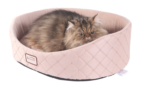 Light Apricot Silk Fabric & Soft Velvet Oval Cat Bed w/Cat - CountrysidePet.com