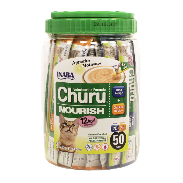 Inaba Churu Nourish Veterinary Formula Appetite Motivator Tuna & Chicken, 50 Tubes