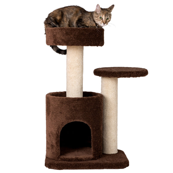Premium Carpeted Cat Tree with Playhouse