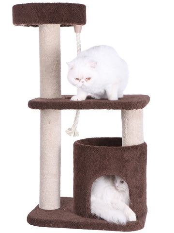 Premium Carpeted Cat Tree with Playhouse and Hanging Rope