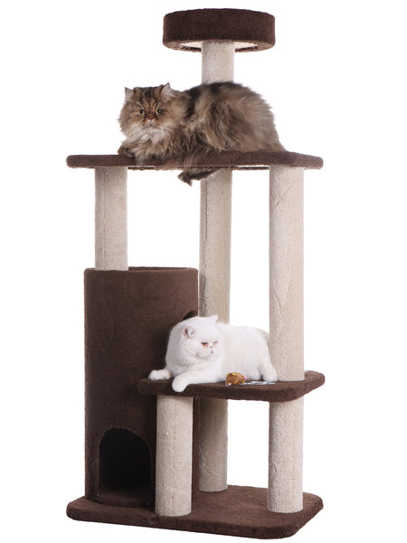 Premium Carpeted Cat Tree with Tall Playhouse and Condo