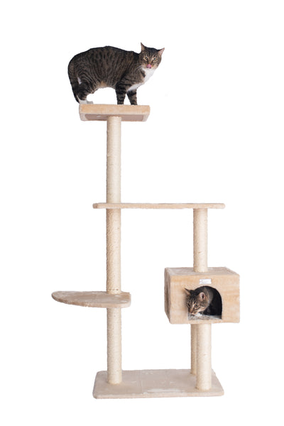 "57"" Compact Cat Tree with Playhouse Beige - CountrysidePet.com"