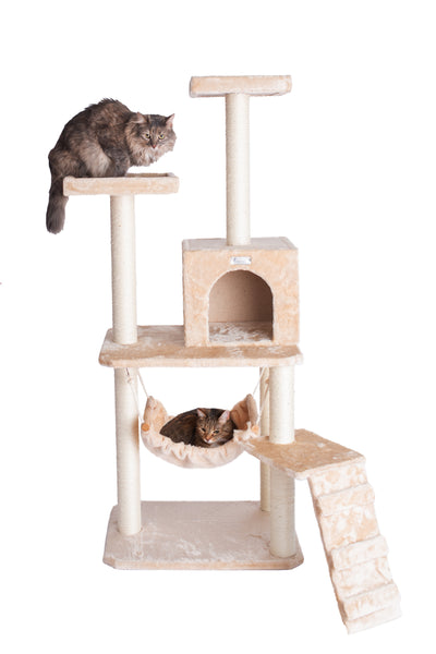 "57"" Compact Cat Tree with Running Ramp, Playhouse and Hammock Beige - CountrysidePet.com"
