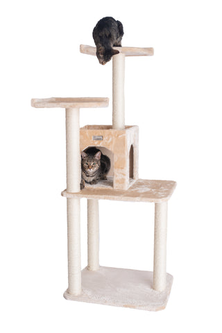 "57"" Cat Tree with Two-Door Condo Beige - CountrysidePet.com"