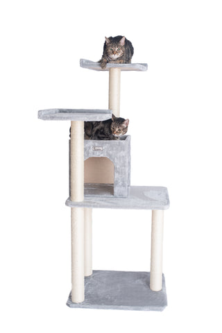 "57"" Cat Tree with Two-Door Condo Silver Gray - CountrysidePet.com"
