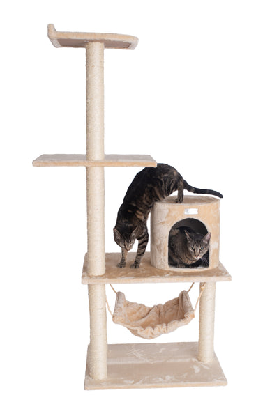 "59"" Cat Tree with Hammock & Round Condo Beige - CountrysidePet.com"