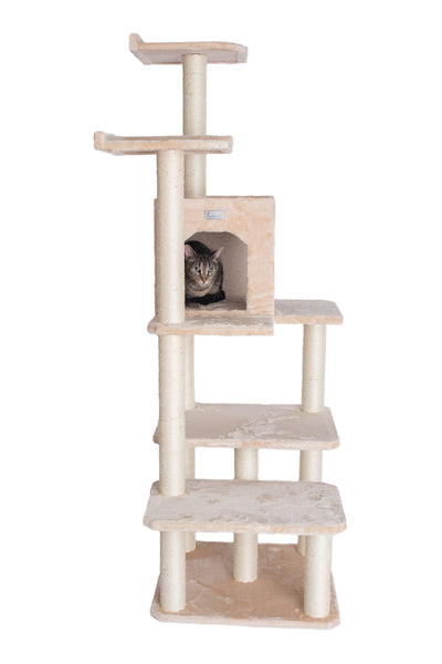 "66"" Multi-Level Cat Tree with Condo Beige - CountrysidePet.com"