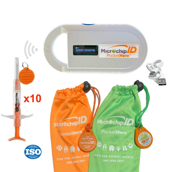 Pocket Hero Handheld ISO Microchip Reader Bundle