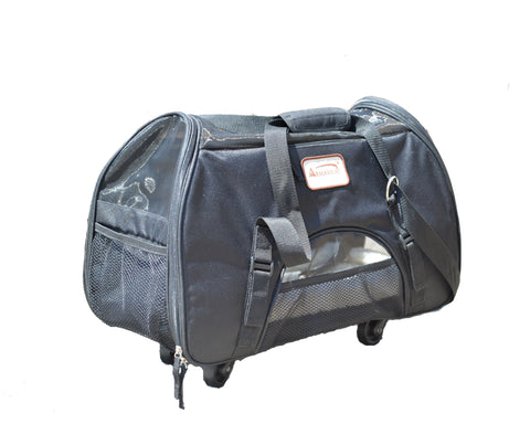Pet Carrier with Wheels for Pets up to 10lb. - Black - CountrysidePet.com