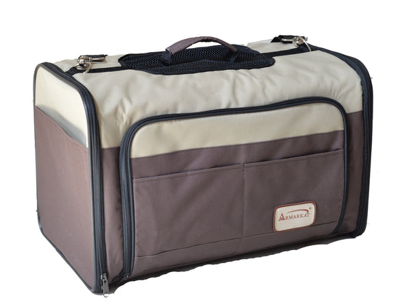 Beige and Chocolate Pet Carrier with Expandable Canopy for Pets up to 22 lb. - CountrysidePet.com