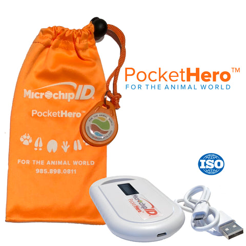 New Hero Bundle! Pocket Hero Handheld ISO Microchip Reader + 10 Buddy-ID MINI 134kHz ISO Microchips