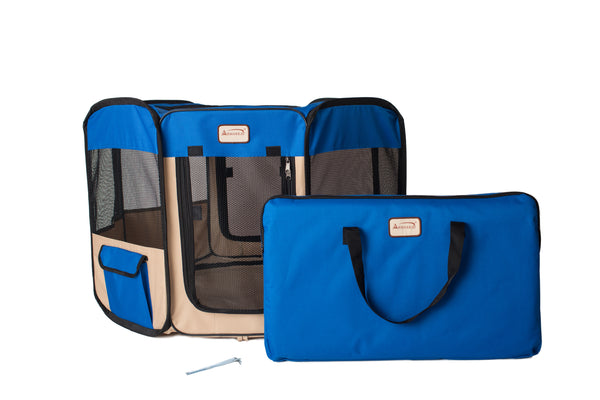 Armarkat Blue/Biege Portable Playpen w/Carrying Case - CountrysidePet.com