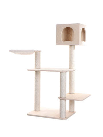 Premium Pinus Sylvestris Wood Cat Tree with Large Soft Perch & Top Playhouse