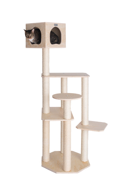 Premium Pinus Sylvestris Wood Cat Tree with Top Deluxe Playhouse