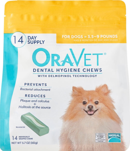 OraVet Dental Chews for Dogs 3.5-9 lb. 14ct. by Merial - CountrysidePet.com