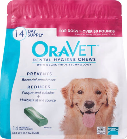 OraVet Oral Dental Hygiene Chews for Dogs Over 50 lb. 14ct. - CountrysidePet.com