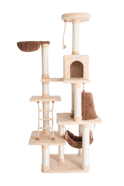 Premium Multi-Level Cat Tree with Hammock, Teepee, Playhouse and Rope Ladder