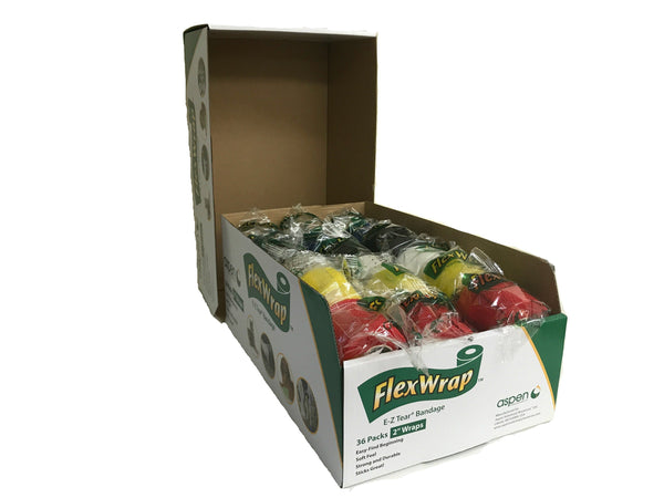 "Aspen FlexWrap E-Z Tear Bandage 2"" x 5 Yards - Assorted Colors - Pack of 36 Rolls"