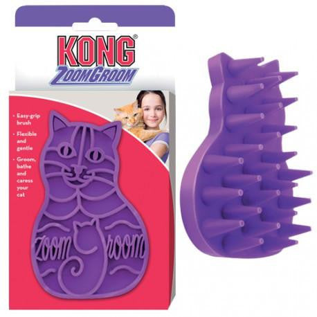 Kong ZoomGroom Purple Grooming Brush for Cats