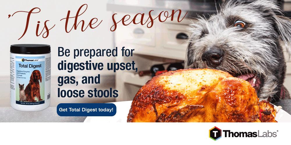 Be prepared for digestive upset, gas, and loose stool this holiday season with Total Digest by Thomas Labs!