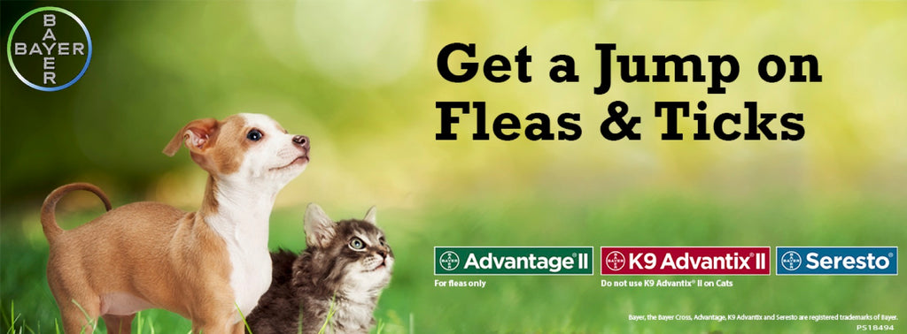 Get a Jump on Flea and Ticks This Year! Bayer Advantage II, K9 Advantix II, and Seresto Products Available Here!
