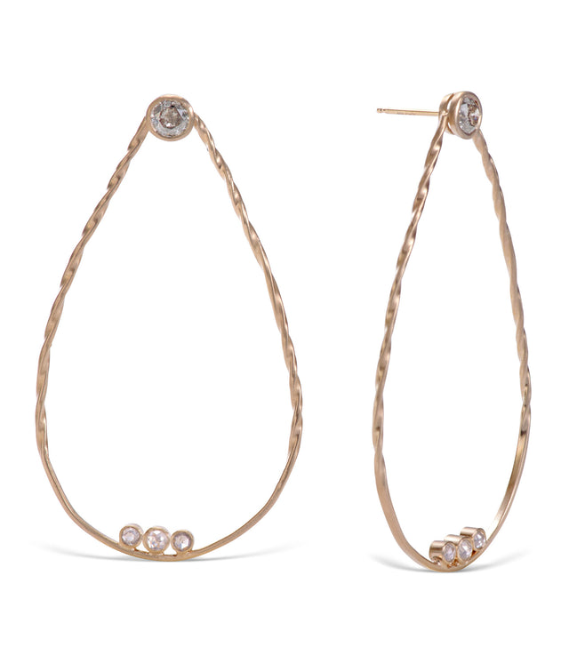 14 KT Yellow Gold Hoops with hand twisted wire, untreated salt and pepper diamonds