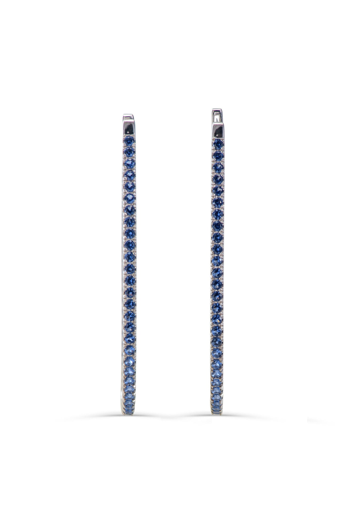 stardust 18KT hoop blue sapphire earrings