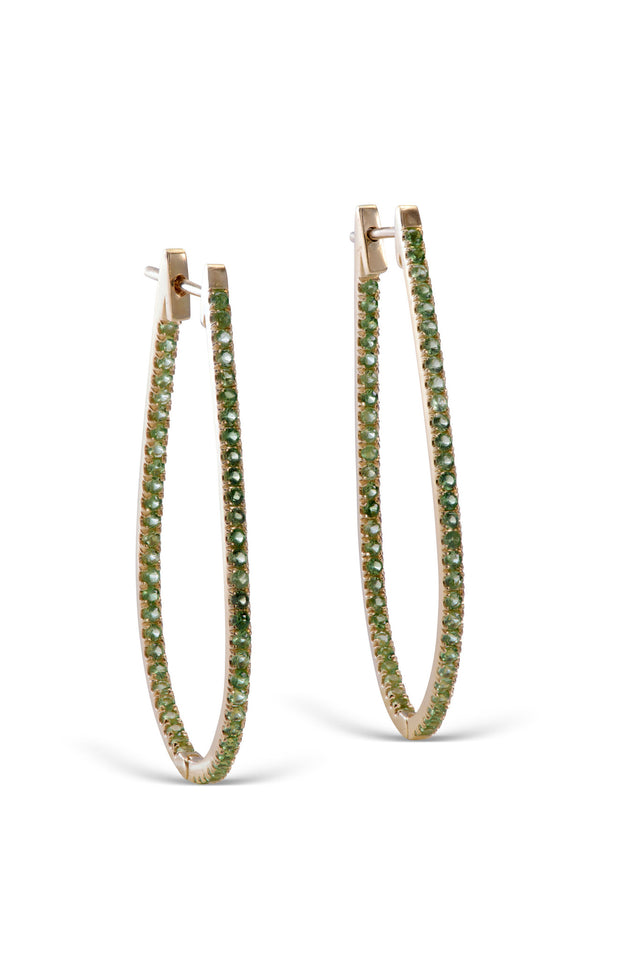 stardust 18KT yellow gold hoop tsavorite earrings
