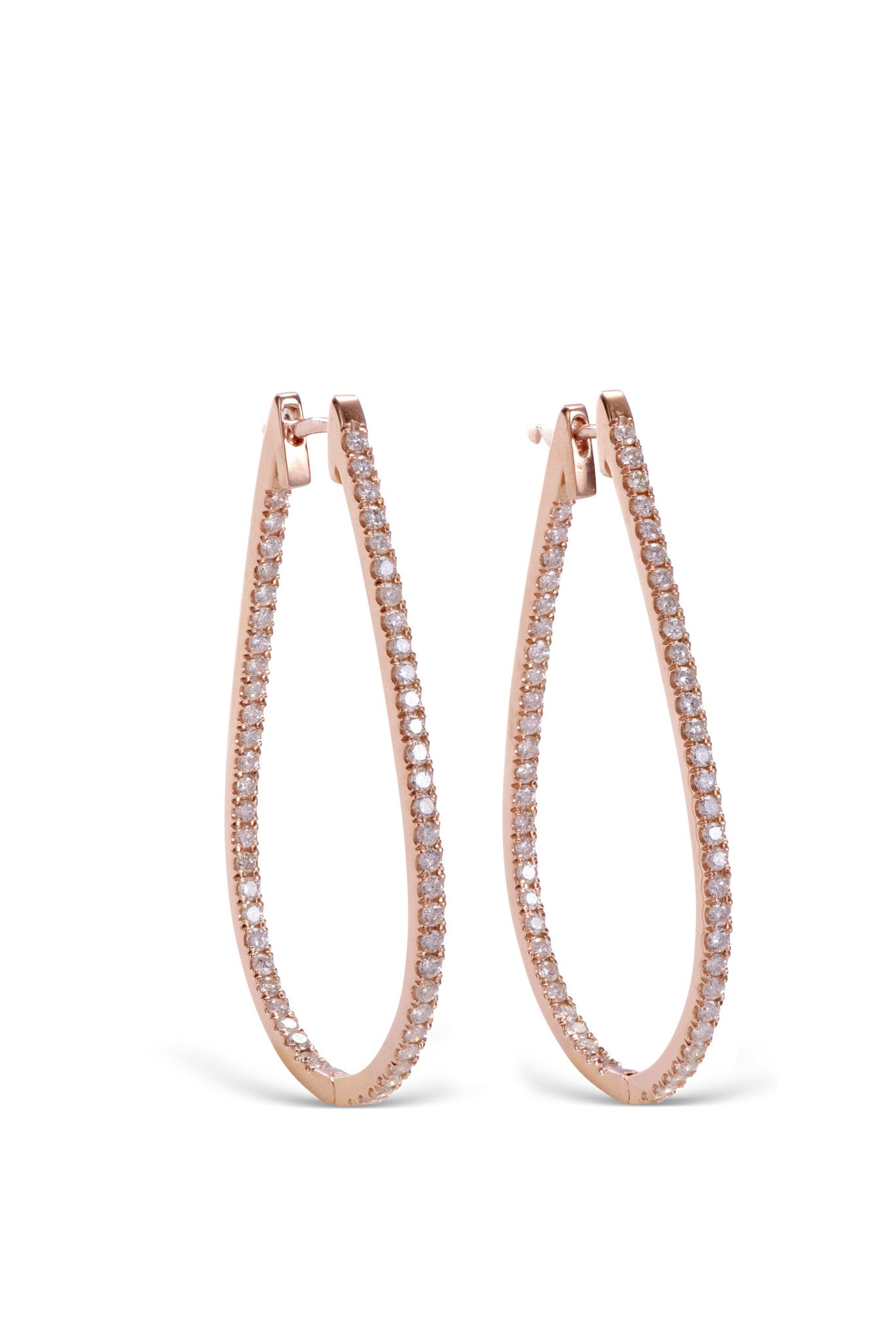 stardust 18KT rose gold hoop conflict free diamond earrings