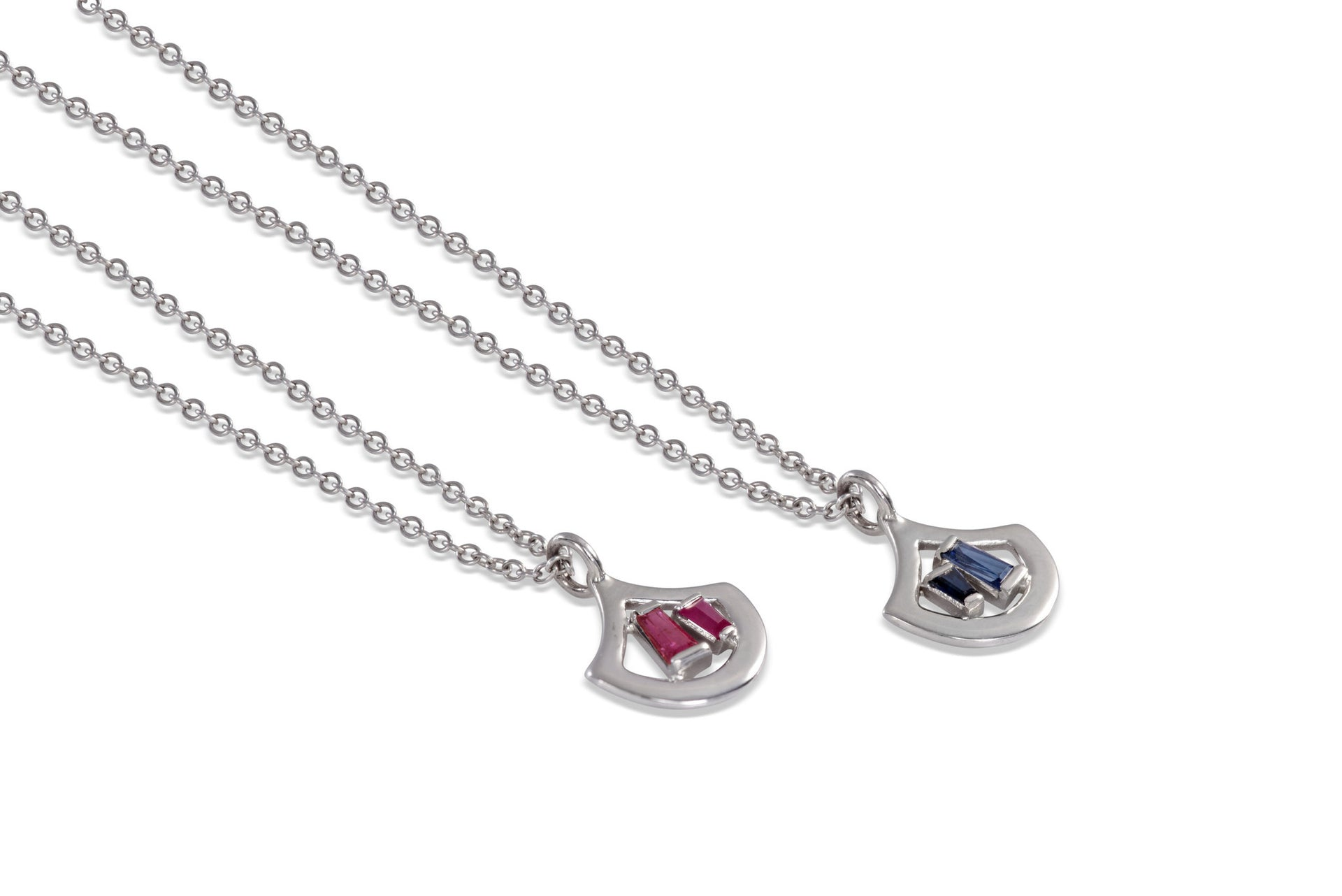 The Stella 14 KT White Gold ruby sapphire necklace by KarenAsh New York