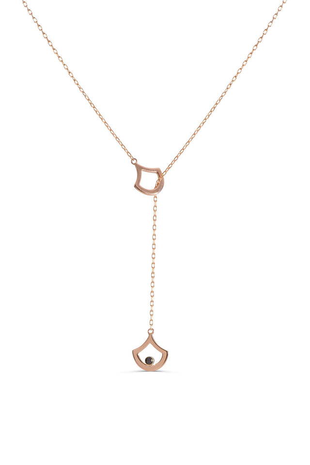 14 KT Rose Gold lariat necklace with black diamonds by KarenAsh New York