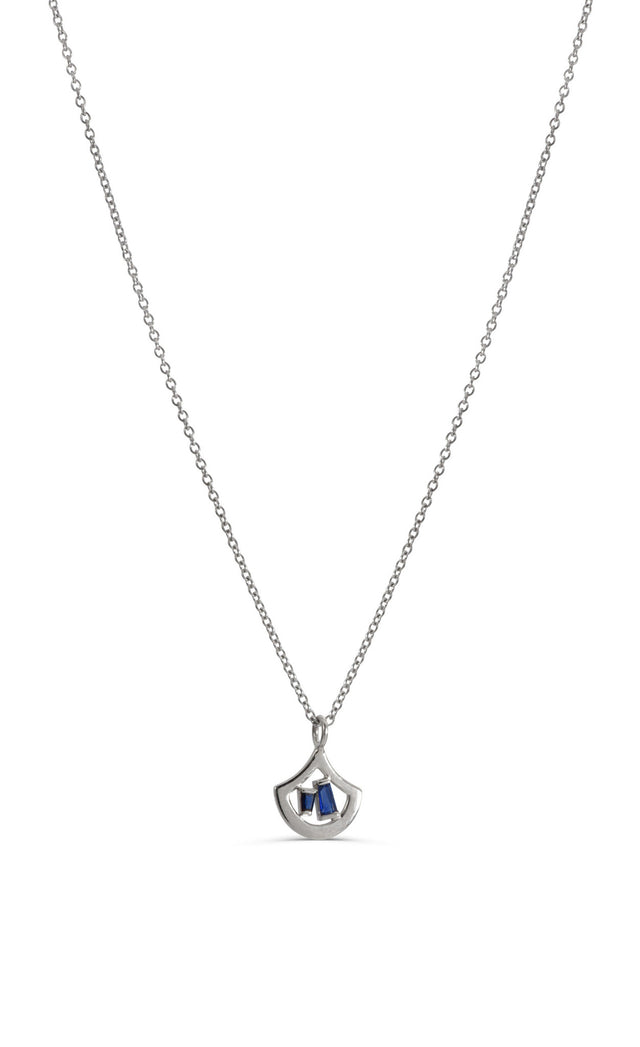 "14 KT White Gold 16"" necklace with ruby or sapphire baguettes by KarenAsh New York"