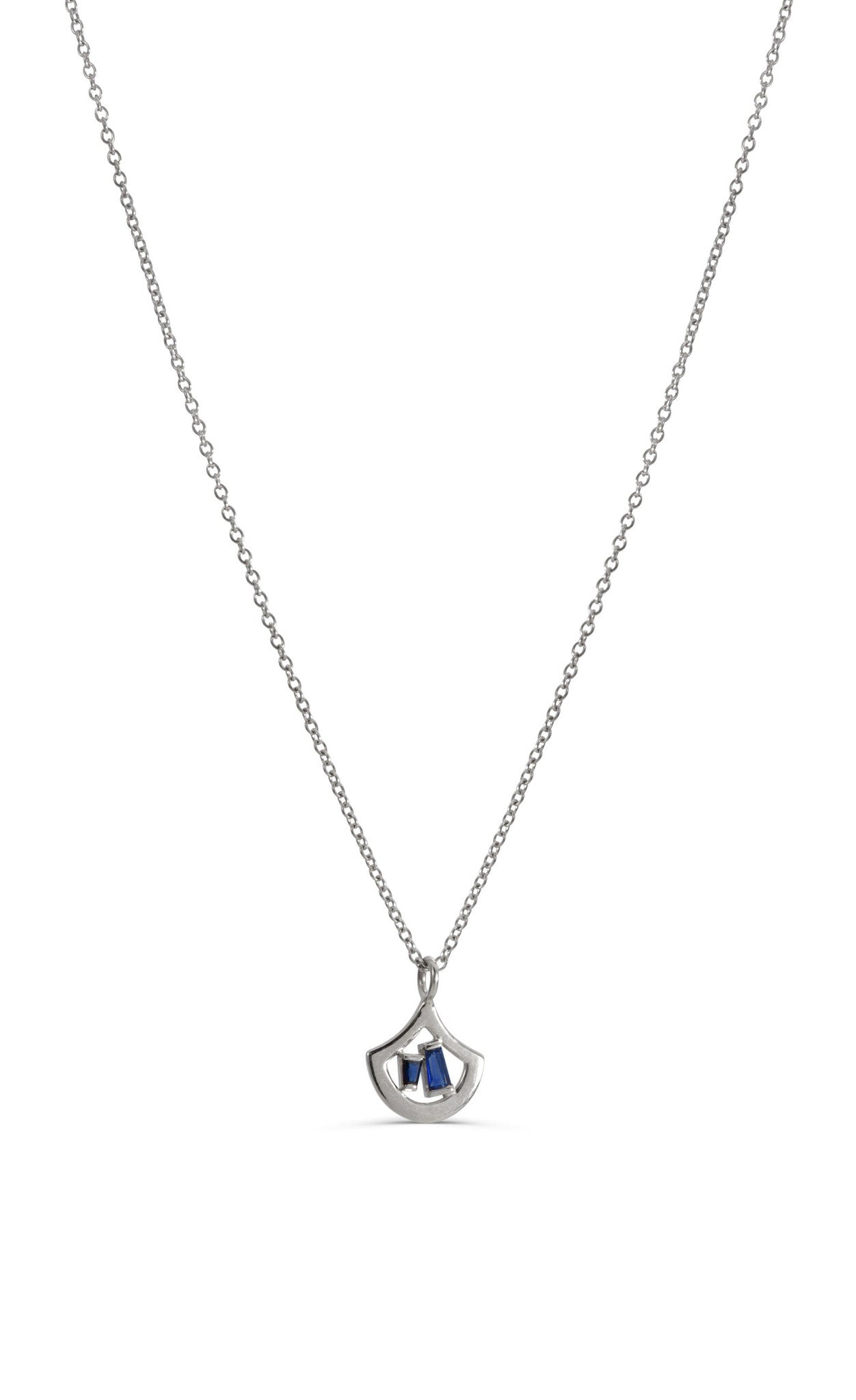 The Stella 14 KT White Gold sapphire necklace by KarenAsh New York