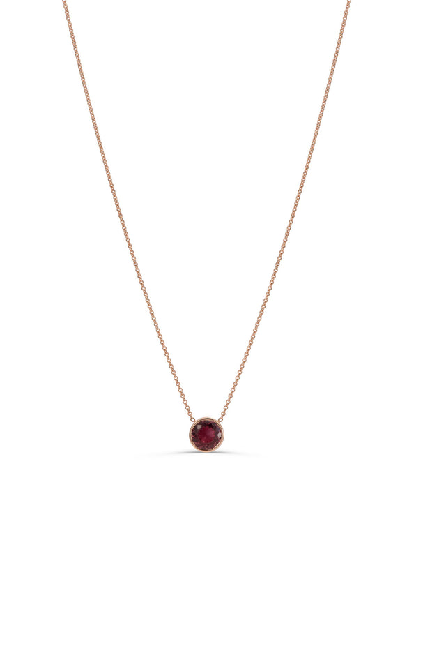 Rose gold Rubellite necklace by KarenAsh New York
