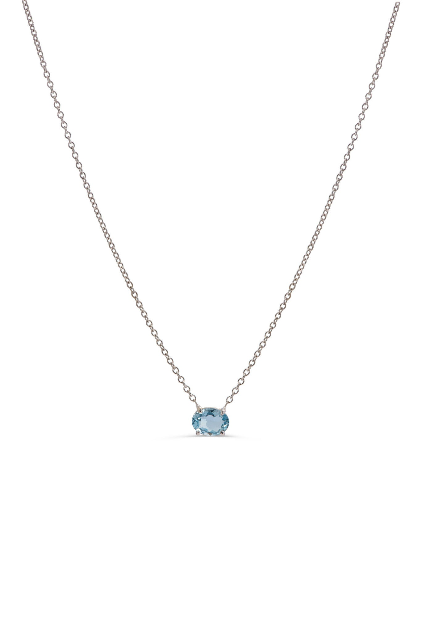 White gold Aquamarine necklace by KarenAsh New York