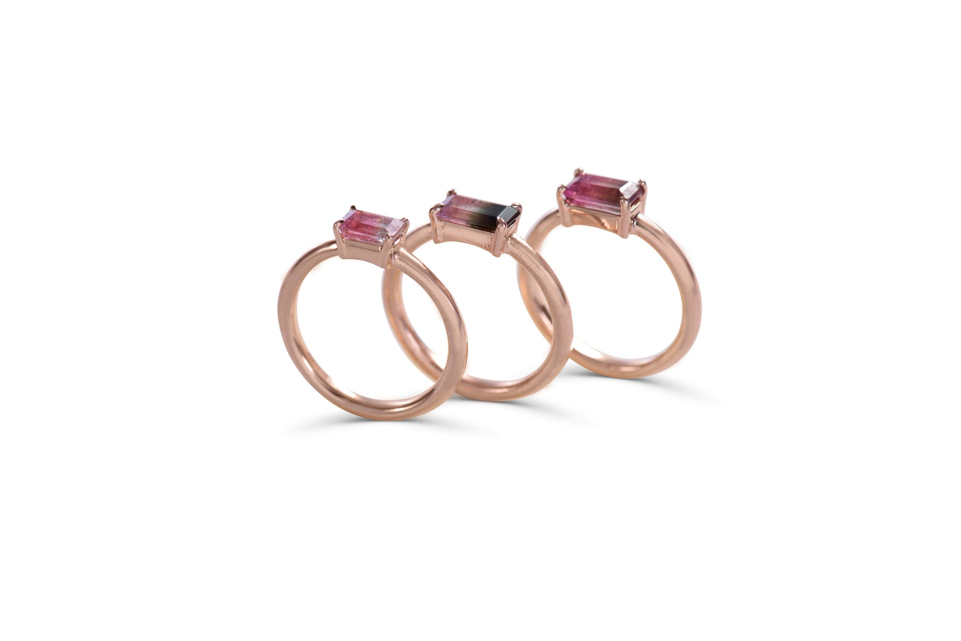 14 KT Rose Gold rings with bicolor tourmaline by KarenAsh New York