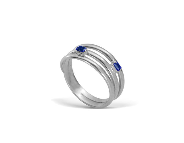 14 KT White Gold Trio ring with two sapphire baguettes by KarenAsh New York