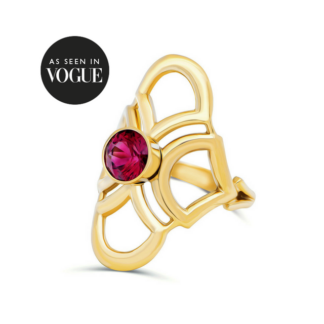 Santa Cruz Spinel Deco ring 14K Gold KarenAsh New York Vouge