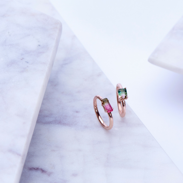 bicolor tourmaline ring 14K rose gold by KarenAsh New York