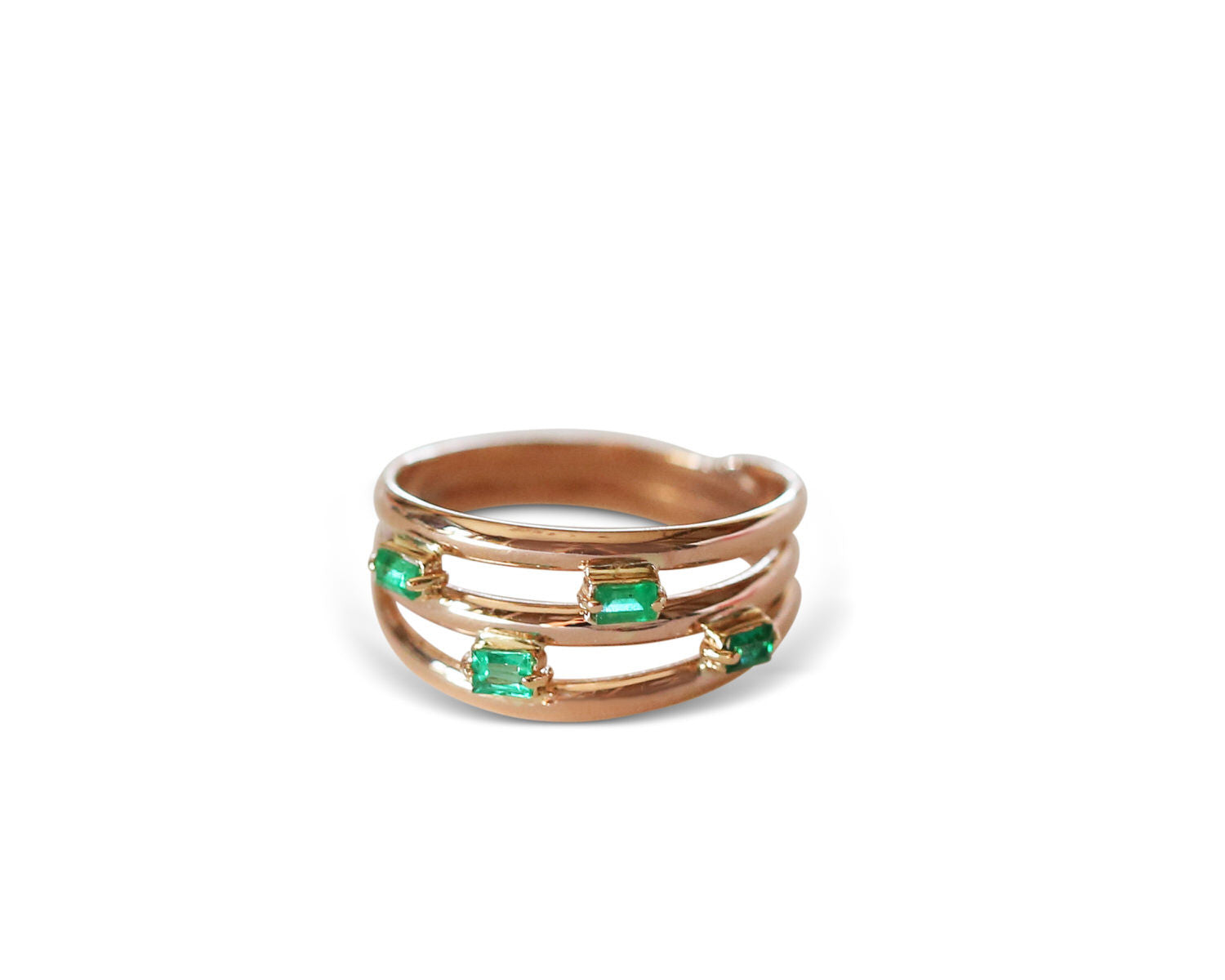 14 KT Rose Gold Trio with four emerald baguettes by KarenAsh New York