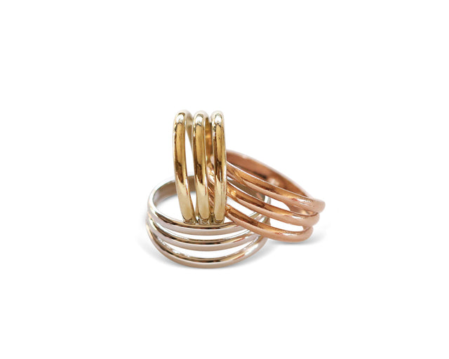 Signature Trio ring 14KT solid gold by KarenAsh New York