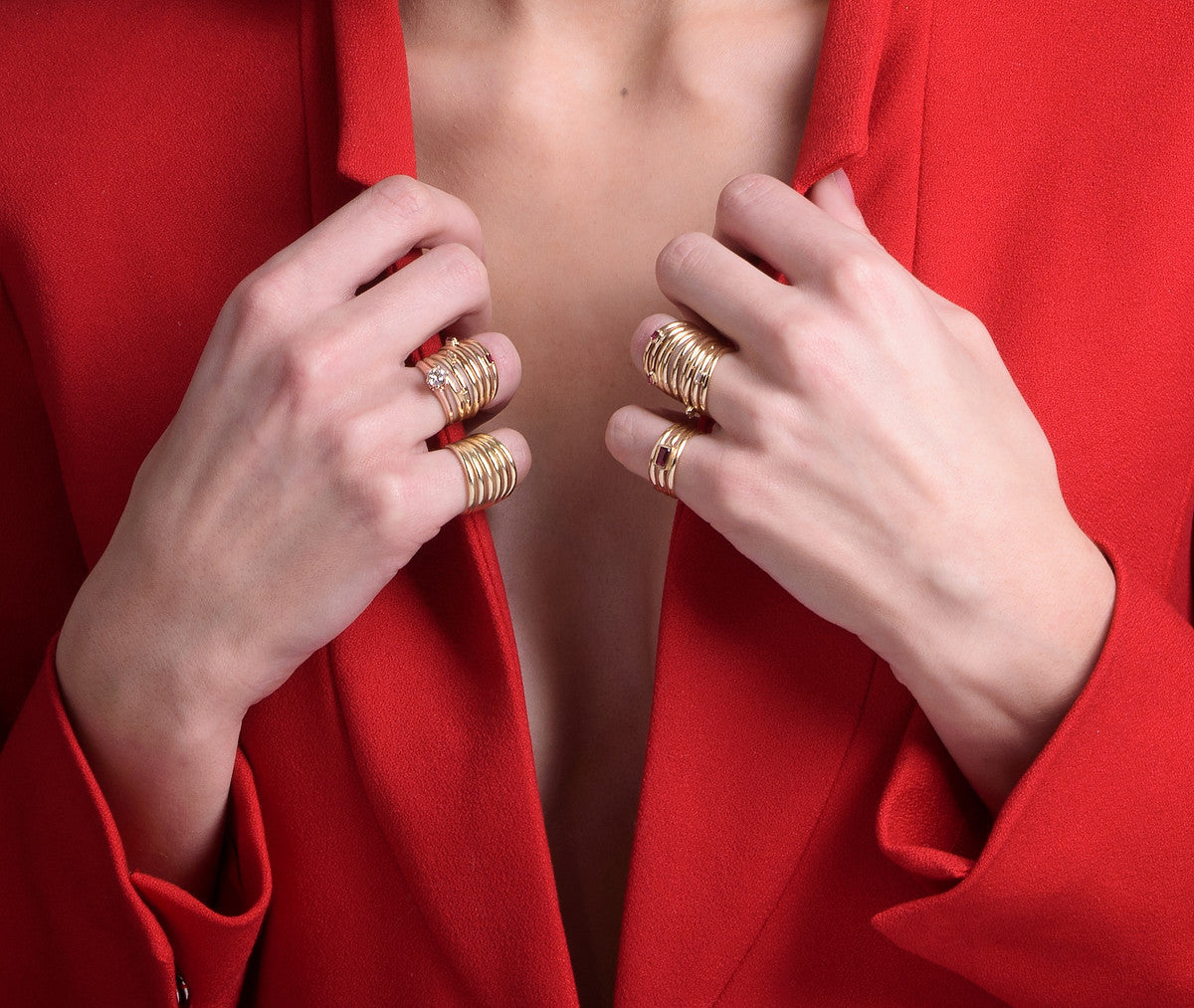 Signature Trio ring solid gold by KarenAsh New York