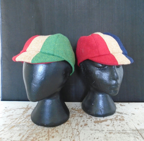 Tricolor Harris Tweed Cycling Caps, All Sizes Catered For.