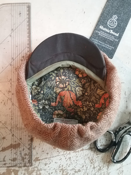'Harris Tweed' Baker Boy, Newsboy Cap, Bespoke, All Sizes Catered For (gold herringbone)