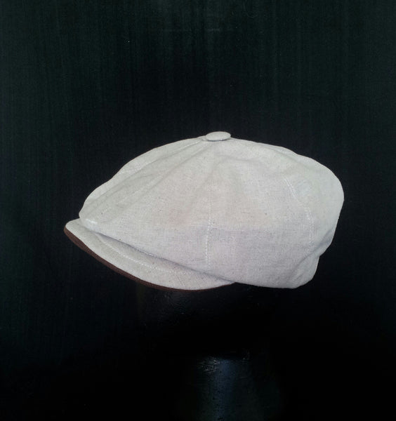 Bespoke Linen Baker Boy, Newsboy Cap With Horween Leather Strap. Made to Measure, Eight Panel.
