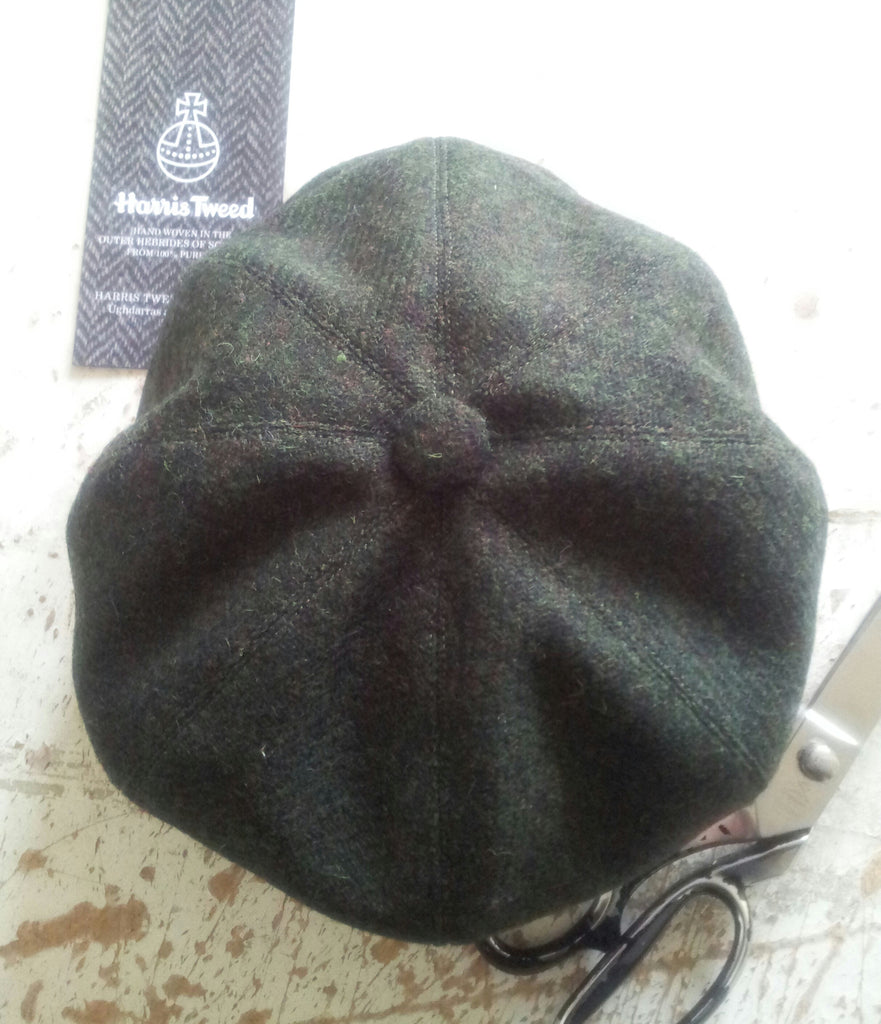 'Harris Tweed' Baker Boy, Newsboy Cap, Bespoke Made To Measure, All Sizes  Catered For  (dark green )