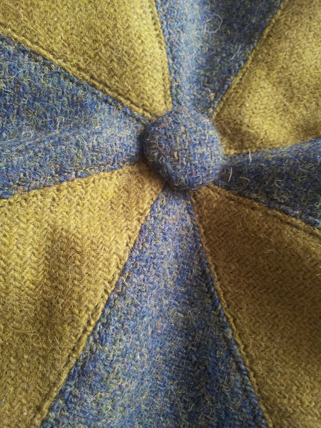 'Harris Tweed' Baker Boy, Newsboy Cap, Bespoke, Made To Measure, All Sizes. (acid green + sea blue)
