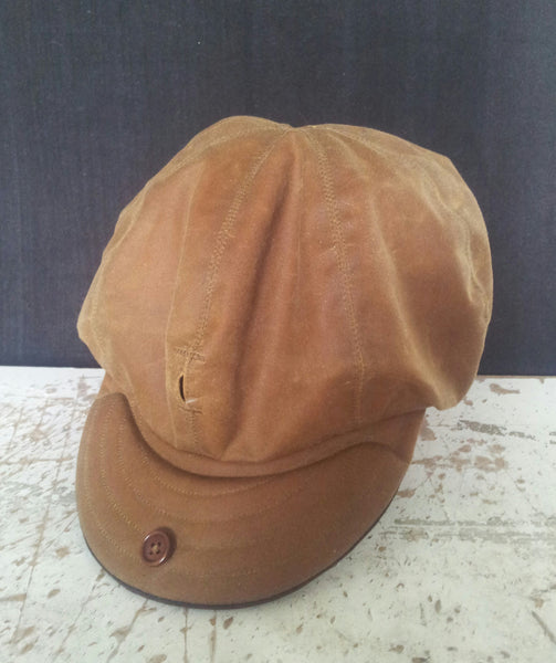 Waxed Cotton Baker Boy Cap, Newsboy Cap. LARGE 59-60CM. With Horween Strap.