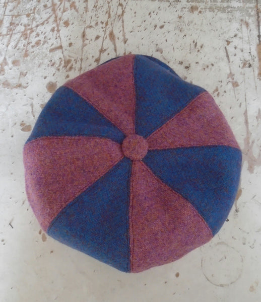 'Harris Tweed' Baker Boy, Newsboy Cap, UNIQUE, Small 55-56cm. PINK + BLUE.